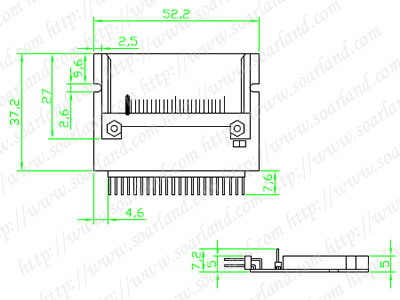 drawing of Pin-bare Laptop 44-Pin Male IDE To CF Card Adapter